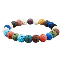 Volcanic Rock Essential Oil Bracelets for Men Lava Stone Diffuser Bracelet Women 12 Color Beads with Elastic Rope
