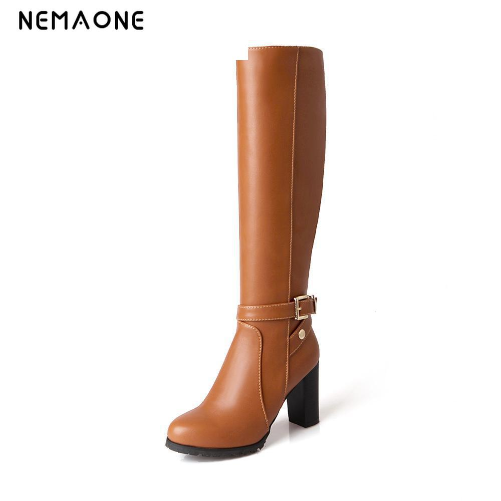 NEMAONE Winter Autumn Women Boots Platforms Square Knee Heel Boots Motorcycle Lady Shoes Size 34-43