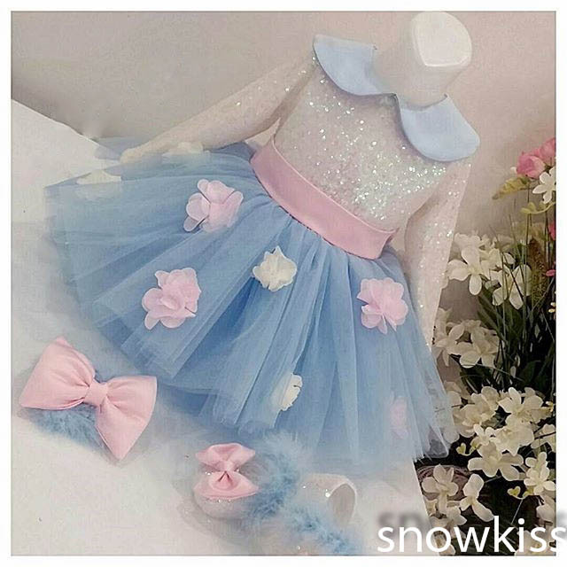 Cute light blue long sleeves scoop neck flower girl dresses short sequined tulle ball gowns with bow sash for toddler