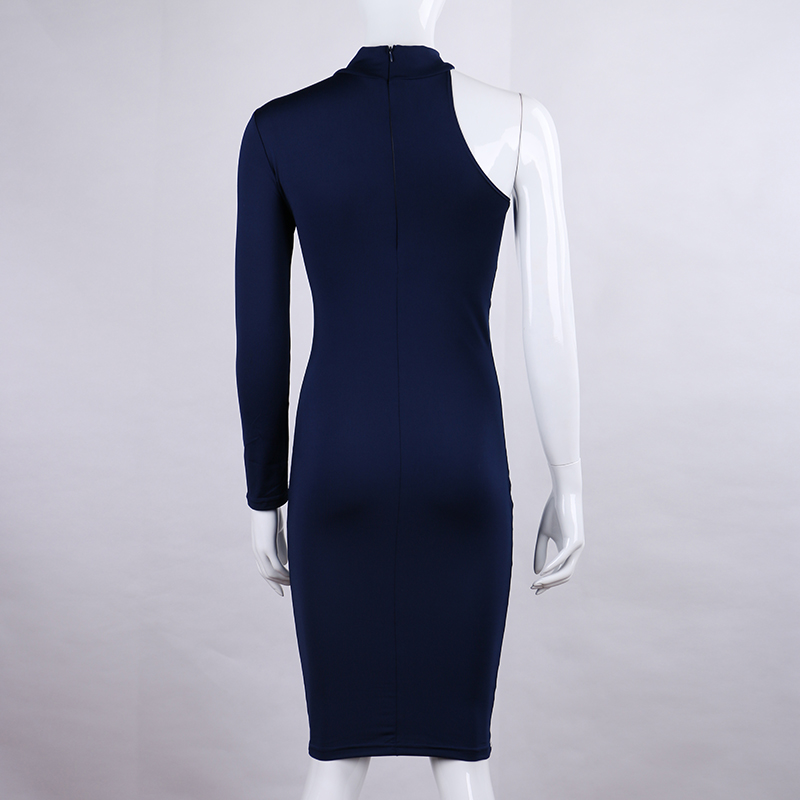 One Shoulder Halter Long Sleeve Women Pencil Dress Sexy Club Bodycon Party Dresses (36)