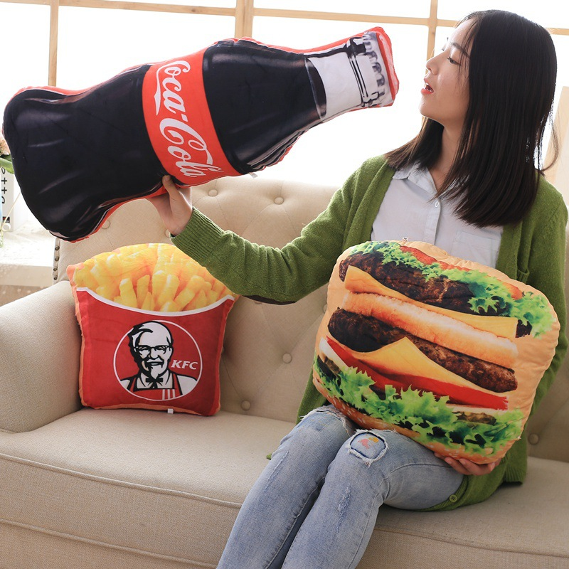 New Design French Fries Cola Hamburger Decorative 3D Cushion Throw Pillow With Inner Home Decor Sofa Emulational Toys No Zipper
