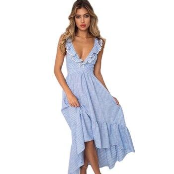 81c415ff53 De rayas de fringe vestido largo 2018 mujeres verano elegante boho playa  vestidos de fiesta casual elegante vestido mujer vestido