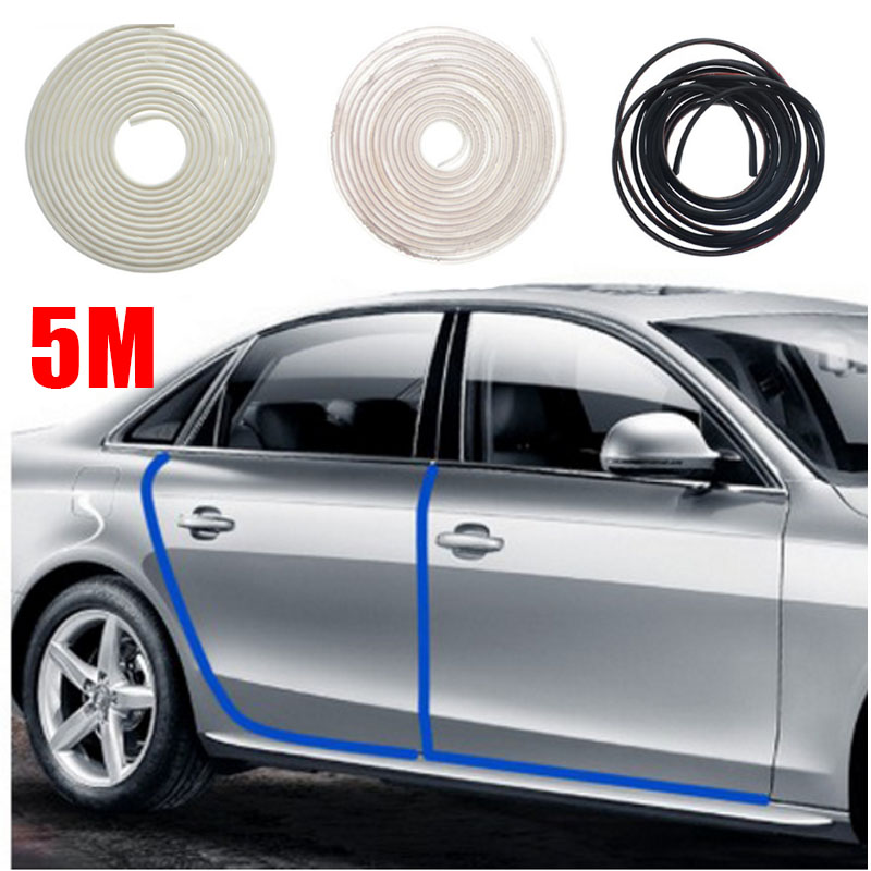 Vehemo 5m Rubber Universal Car Door Edge Guards Trim Molding Protection Strip Scratch Pr ...