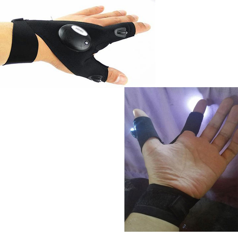 NY Utomhus Fiske Magic Rem Fingerless Glove LED Ficklampa Facklampa - Fiske