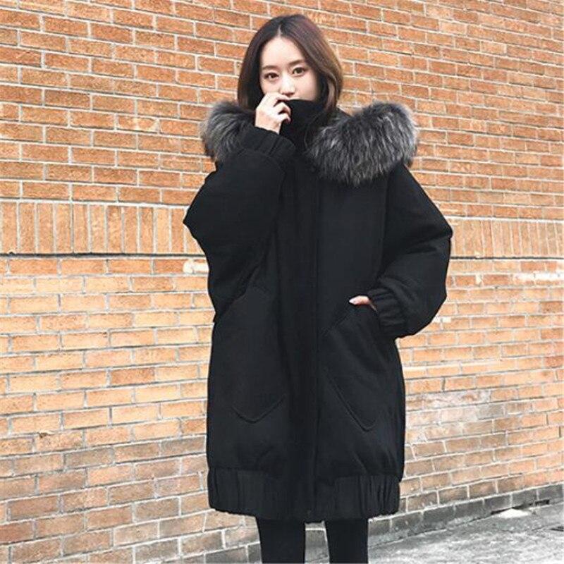 Nouveaux Black Le Manteau Fourrure Long Femmes Vers Parker Épaissir Grand 2018 Vestes As870 Col Noir Veste Coréen Lâche Hiver Qualité De Haute Bas 4qBwp