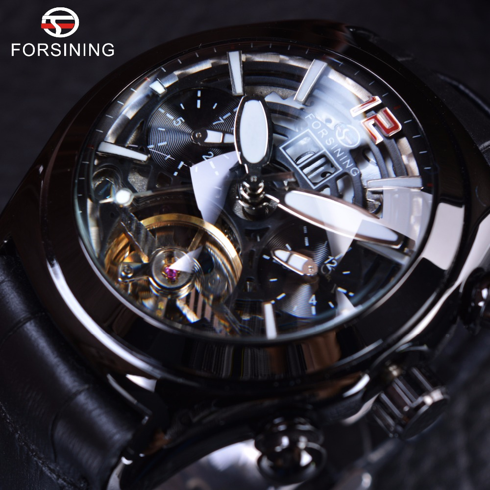 Forsining Legend Tourbillion Series Full Black Mysterious Design Genuine Leather Mens Watches Top Brand Luxury Automatic Watch