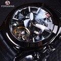 Forsining tourbillion lenda série projeto misterioso preto completo couro genuíno dos homens relógios top marca de luxo relógio automático