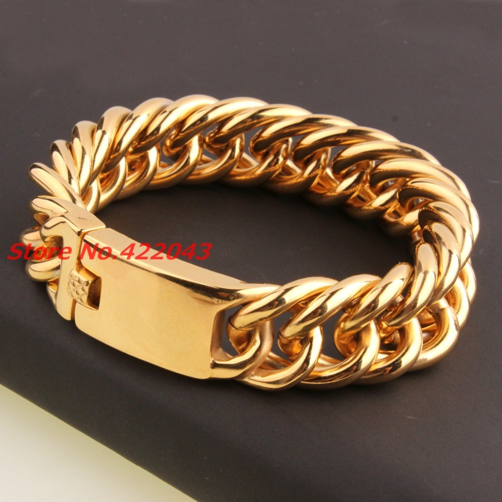 19mm Customied Size Heavy 316L Stainless Steel font b Gold b font color Curb Cuban Chain