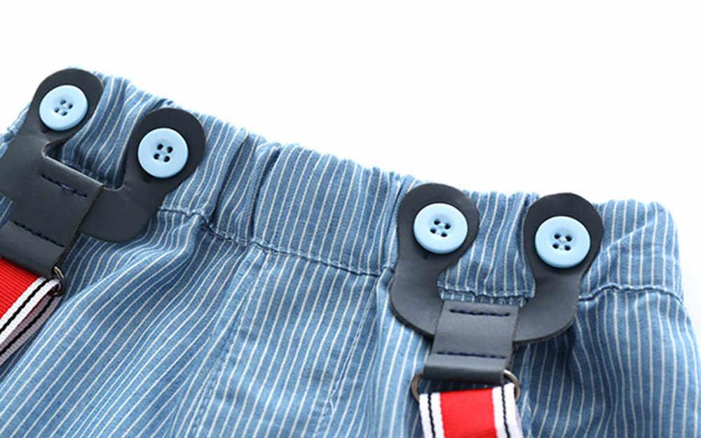 Ropa de verano para bebés y niños, pajarita Caballero, Camisa vaquera de manga corta + conjunto de pantalones cortos para bebés