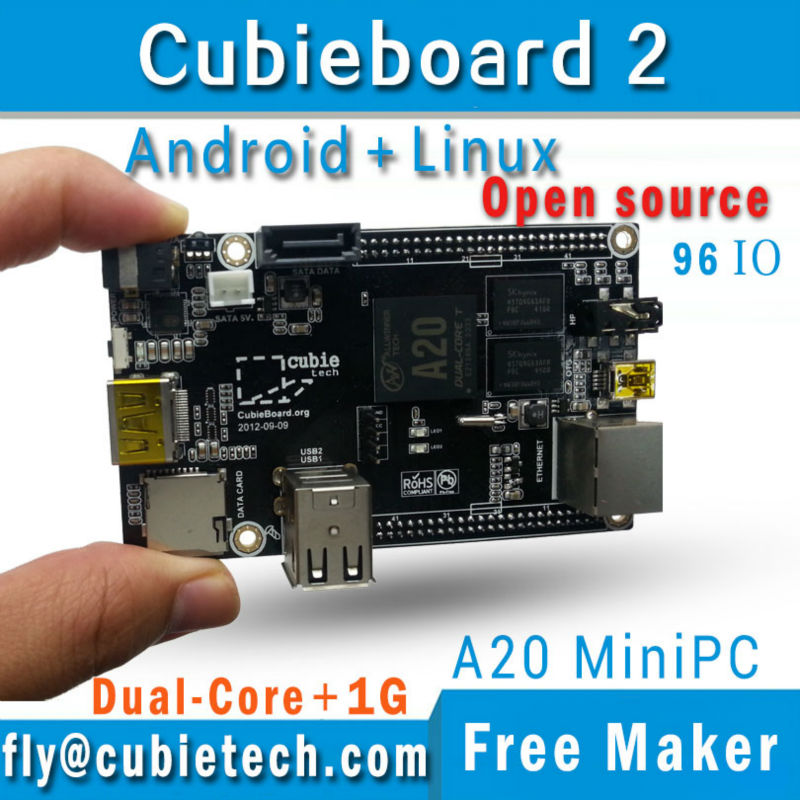 Cubieboard2 A20 Dual Core ARM MiniPC Cortex-A7  1GB DDR3 with linux/android/More powerful pcduino/Raspberry pi/Smartfly team pc cubieboard2 cubieboard a20 arm cortex a7 dual core 1gb ddr3 development board with case cubieboard 2 super than raspberry pi