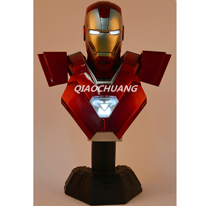 Statue Avengers Captain America 3: Civil War IRON MAN Tony Stark 1:2 Bust MK33 Half-Length Photo Or Portrait With LED Light W216 avengers captain america 3 civil war black panther 1 2 resin bust model panther statue panther half length photo or portrait