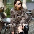 Princesa de plata de piel de zorro abrigo largo de las mujeres de calidad de piel de zorro abrigo de invierno chaqueta genuina piel de zorro libre shiping EMS F311