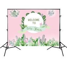 цены Newborn Baby Shower Background Pink Backdrops for Photo Studio Cactus Theme Backgrounds Vinyl Cloth 7x5FT