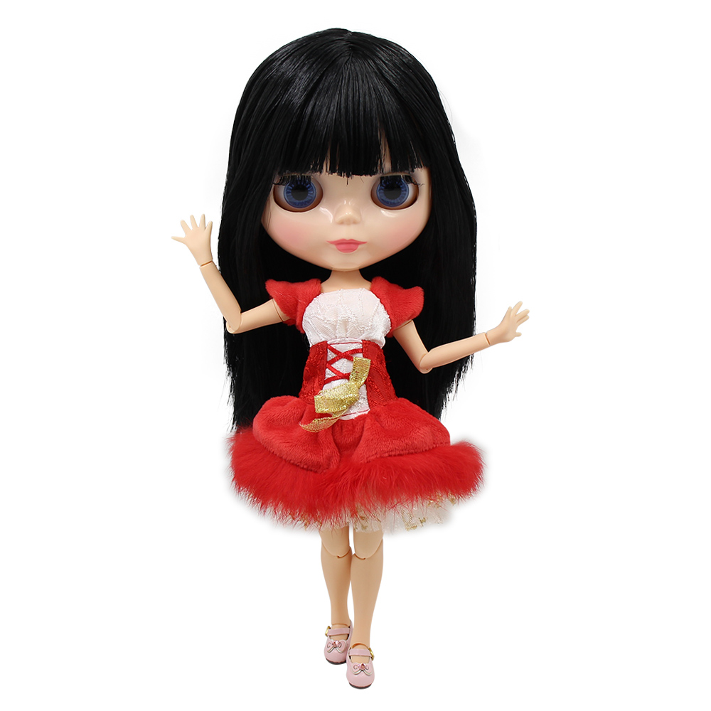 Nude 1 6 Blyth doll big breast joint body natural skin Black hair with bangs 30cm
