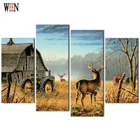 HD Print 4PC House And Deer Framed Canvas Art Wall Pictures For Living Room Large Modern