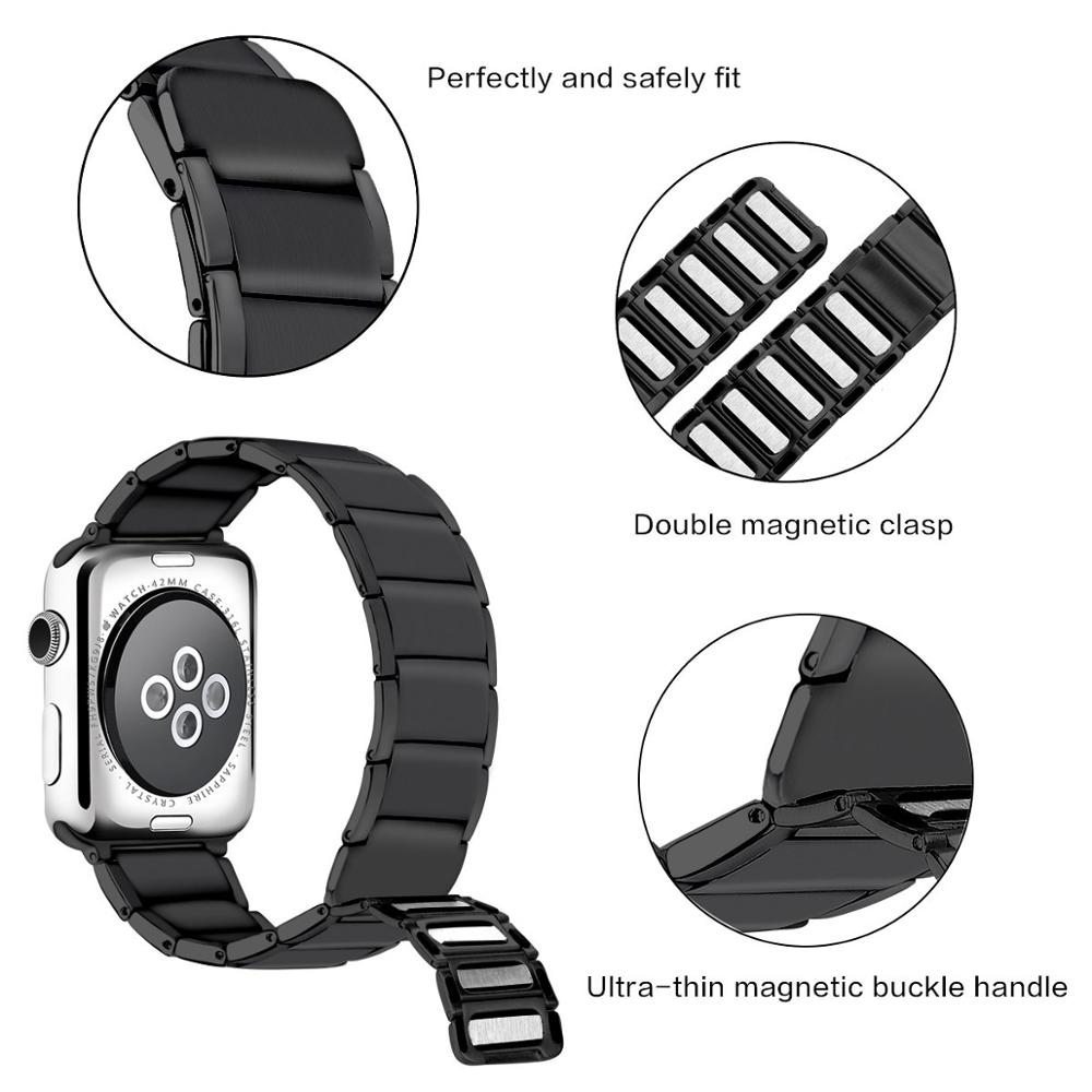 Image 3 - Stainless Steel Strap for apple watch band 38/42mm Metal Link Bracelet watch Strap for apple watch 4 band 40mm Series 1 2 3 44mm-in Watchbands from Watches