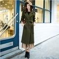 Woman Cashmere Palto Plus Size Down Coat Winter Military Long Warm Wool Jacket Army Green Collar Button Korean Cloak Woolen Coat