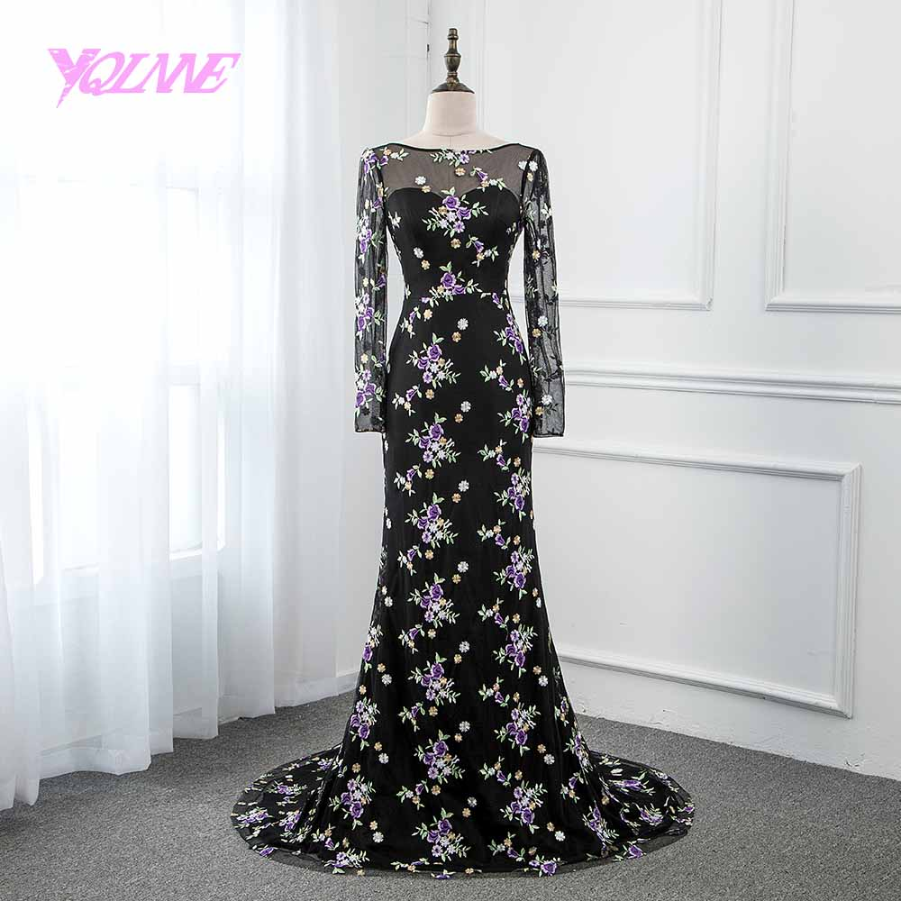 YQLNNE 2018 Black Lace Embroidery   Prom     Dresses   Long Sleeve Tulle Mermaid Evening Gown Zipper Back