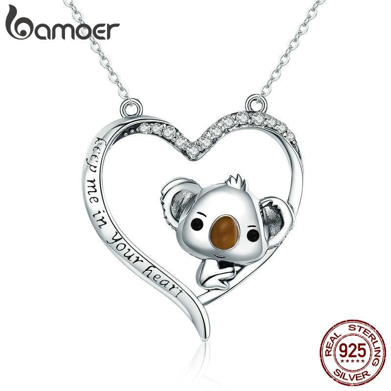 BAMOER High Quality Real 925 Sterling Silver Lovely Koala in Heart Pendant Necklaces for Women Sterling Silver Jewelry SCN256 bamoer 925 sterling silver