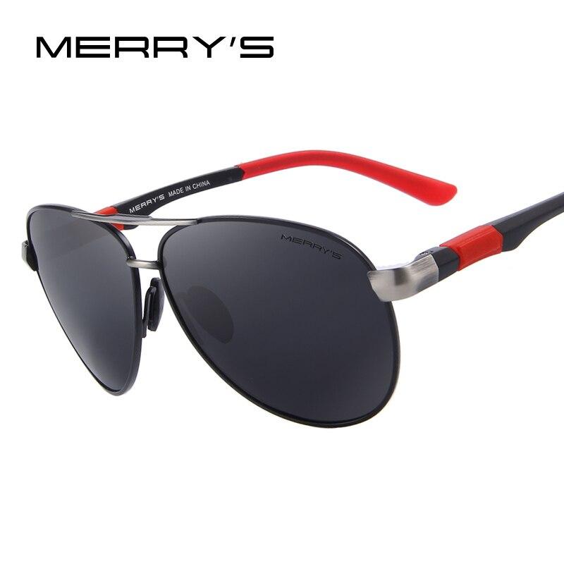 MERRY'S diseño hombres clásico piloto gafas de sol polarizadas HD gafas de sol para la conducción de la aviación Marco de aleación de primavera piernas UV400 S'8404