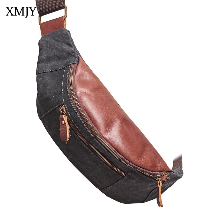XMJY Men Chest Bags Canvas With Cowhide Leather Sling Pack Vintage Small Mini Crossbody Bag Travel Shoulder Bag Phone Pack augur 2018 men chest bag pack functional canvas messenger bags small chest sling bag for male travel vintage crossbody bag