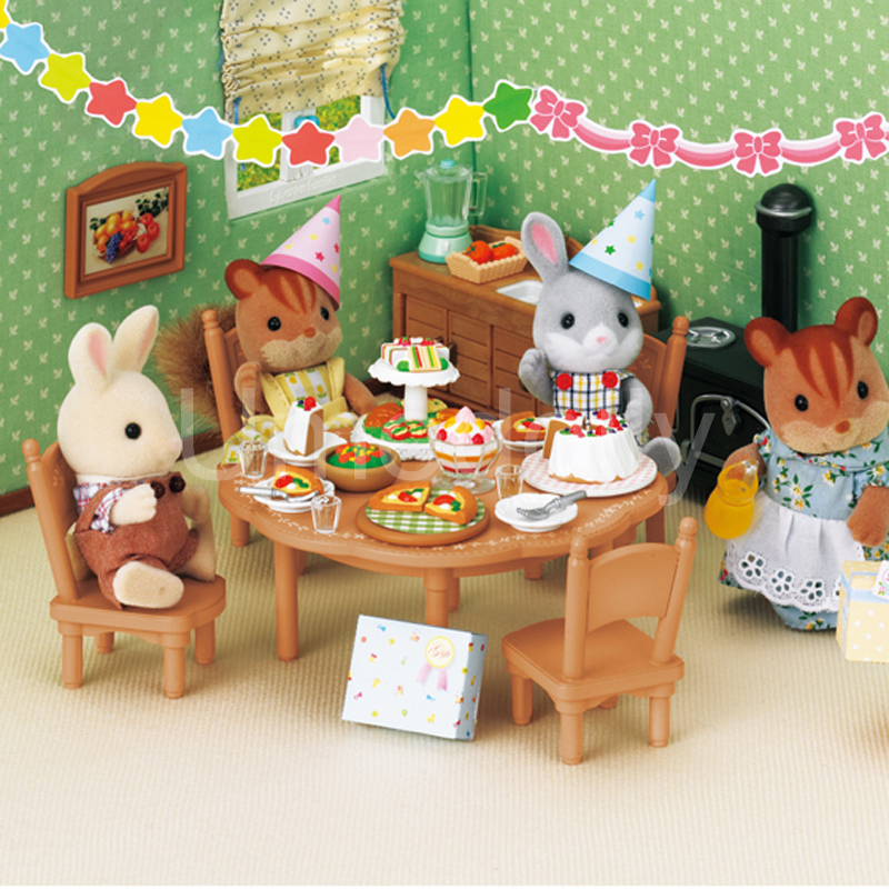 1 Set Sylvanian Families House Birthday Party Table Chair Mini Cake Food Miniature Dollhouse Furniture Pretend Play Toys Gift In From