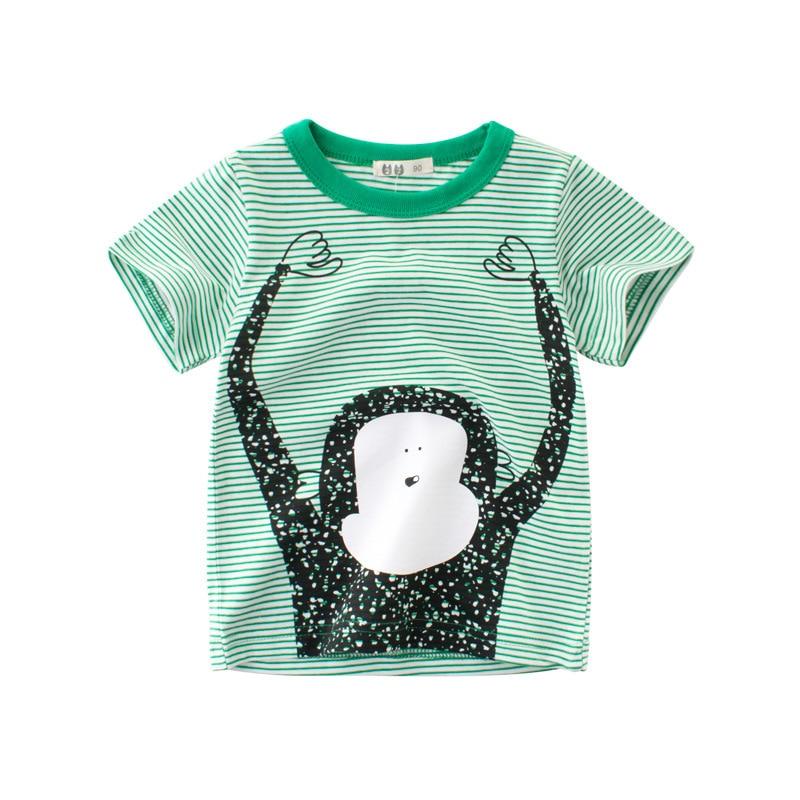 children t-shirts Short sleeve clothing t shirt 100% cotton kids tshirts boys girls clothes summer stripe monkey printing