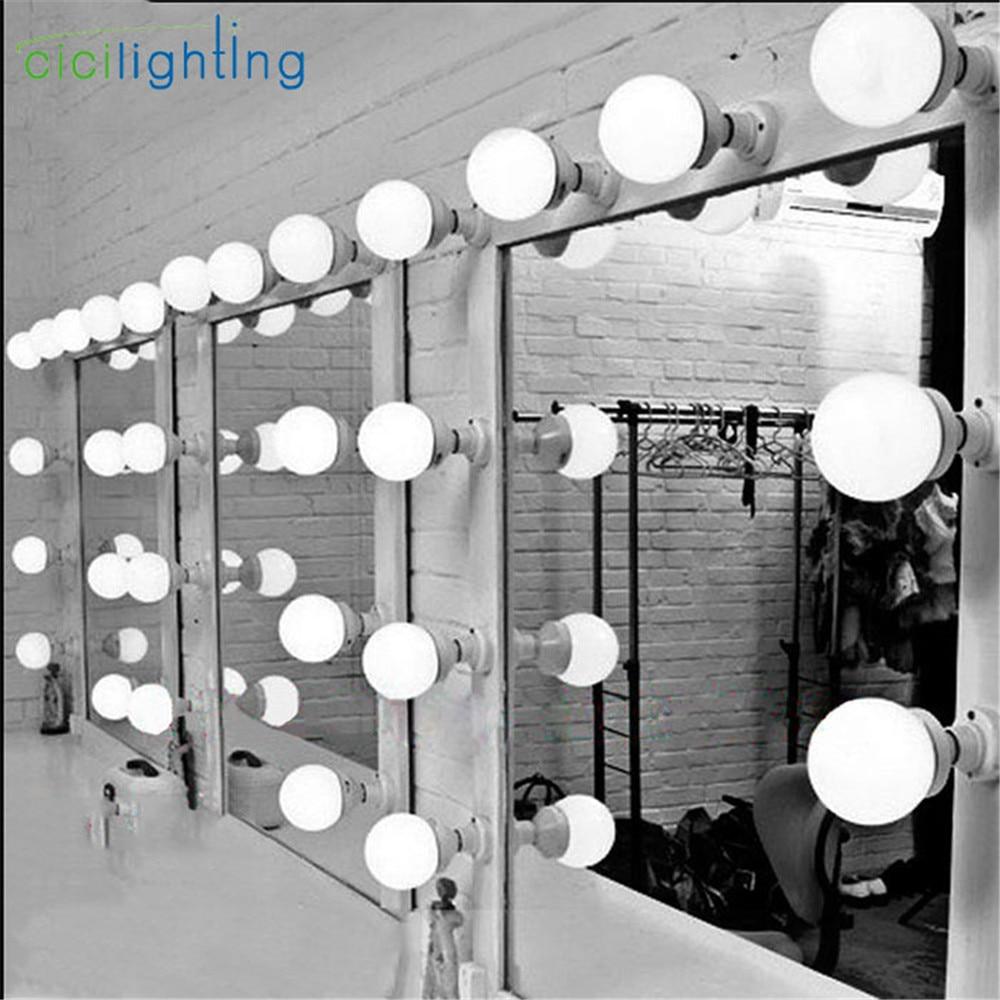 6/10/15/20pcs Modern dressing room mirror light wall cosmetic mirror lamp E27 E26 LED bulbs plug in lighting makeup wall lamps