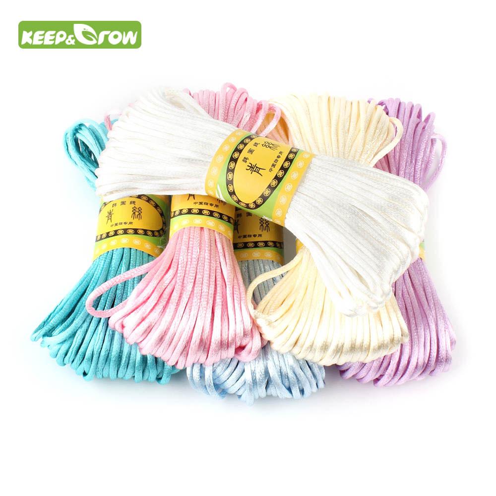 Corda de cetim de 20 m 2.5mm, corda de nylon para bebê, acessórios para dentição, colar de chocalho ferramenta diy 10 cores