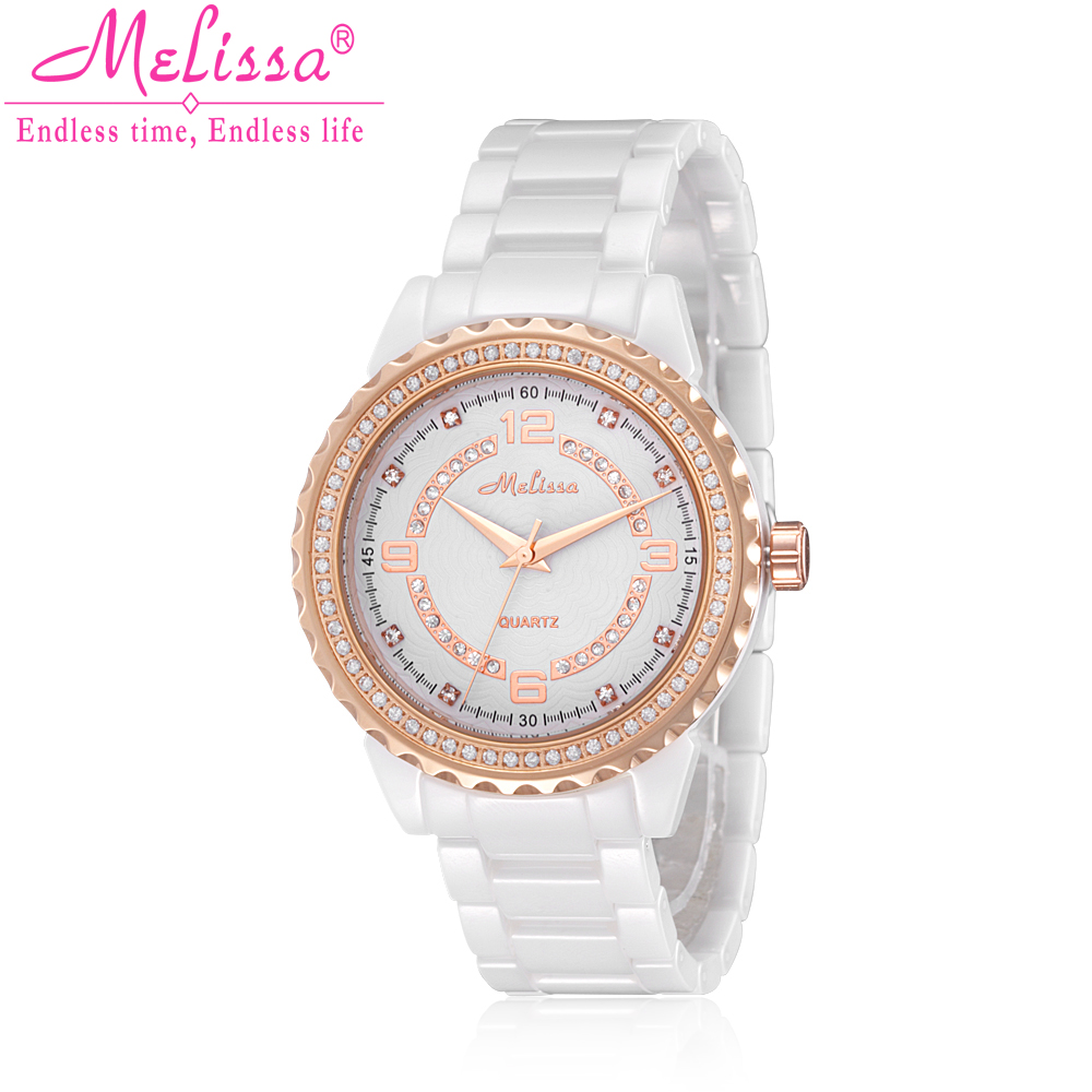 Lady Women's Watch Ceramic Japan Quartz Hours Best Fashion Dress Bracelet Girl Birthday Gift Luxury Rhinestones Melissa Box