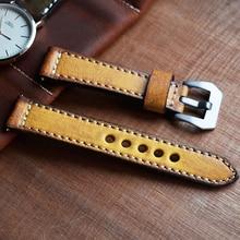 Onthelevel Lederen Horlogebandje Vintage Stijl 20 22 Mm Lederen Band Geel Oranje Groen Rood Horloge Band Voor Panerai # C