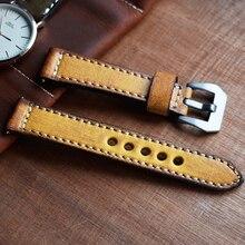 Onthelevel hakiki deri saat kayışı Vintage stil 20 22mm deri kayış sarı turuncu yeşil kırmızı saat kayışı Panerai için # C