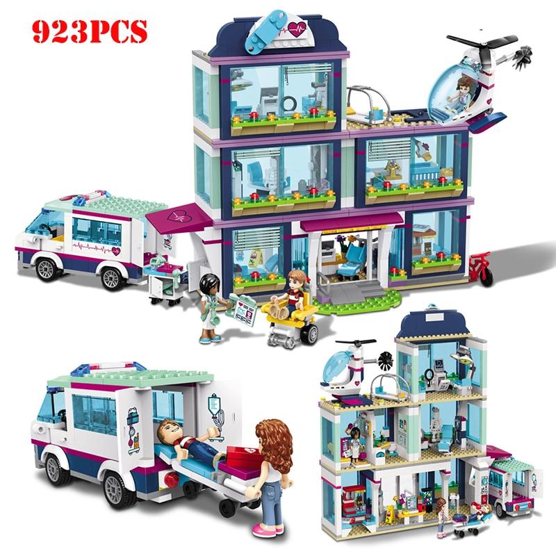 932pcs Friends City Hospital Nursery Ambulance Building Blocks Mini Girls Action Figures Bricks Educational Toys For