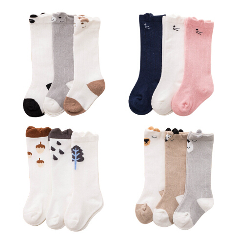 2018 New spring baby tube socks cartoon animal combed cotton anti-skid glue newborn infant kids children socks 3 pairs pack цены онлайн