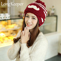 2016 New Fashion Woman's Warm Woolen Winter Hats Knitted Fur Cap For Woman Sooner State Skullies & Beanies 10 Color Gorros M12