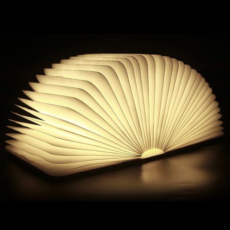 Chic Folding LED Nightlight Creative LED Book Light Lamp Best Home Novelty Decorative USB Rechargeable Lamps White/Warm creative flip book page led nightlight