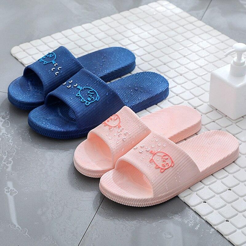 1PR Bathroom Pink Women Rubber Slippers