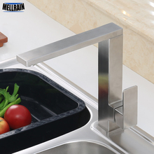 Quality Stainless Steel Square Kitchen Faucet Brushed Rotatable Hot & Cold Sinik Mixer Water Tap For Kitchen and Bathroom