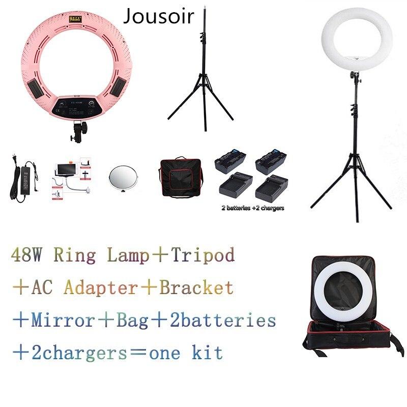 Pink FS-480II Yidoblo Bi-color adjustable beauty salon make up 48W Ring Light LED Lamp+stand +Bag +batteries Kit For studio CD50Pink FS-480II Yidoblo Bi-color adjustable beauty salon make up 48W Ring Light LED Lamp+stand +Bag +batteries Kit For studio CD50