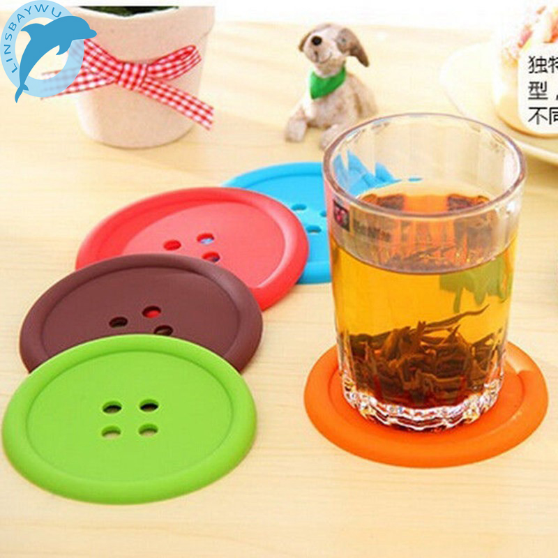 1pcs Silicone Cup Mat Cute Colorful Button Cup Coaster Cup