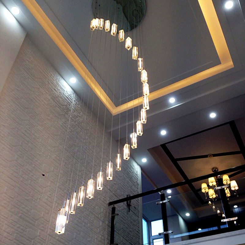 Us 634 84 5 Off Modern Chandeliers Crystal Lighting Stair Long Hanging Lamp Pendant Lamps Home Decorative Re Luminiare Light Fixtures In