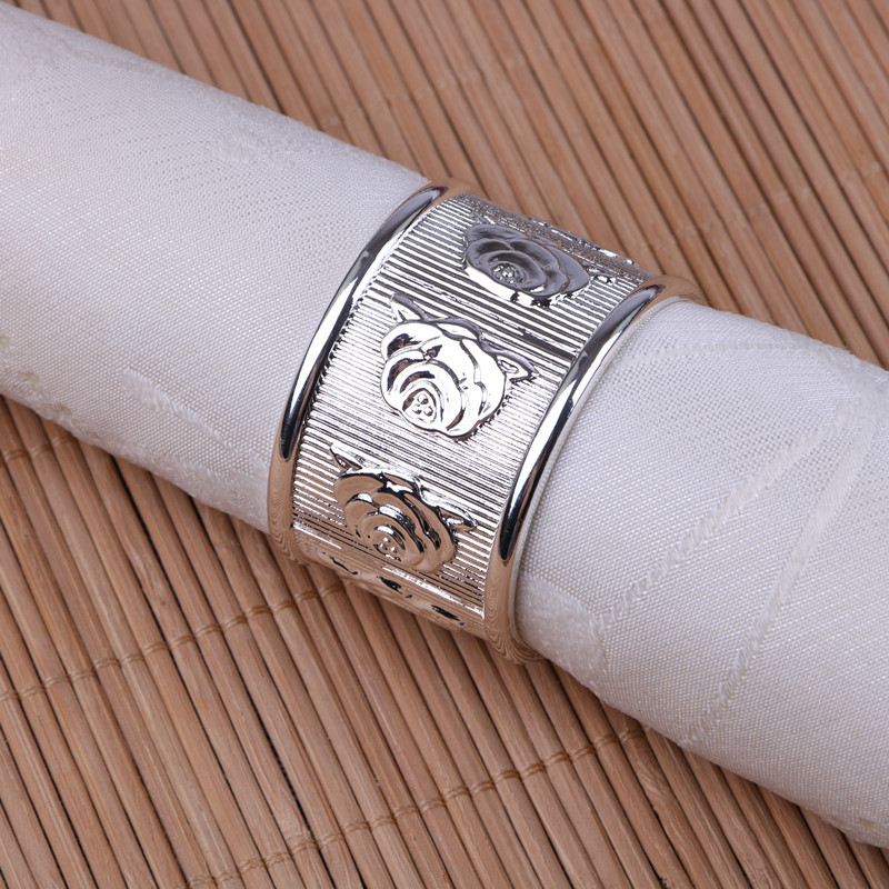 10PCS alloy napkin ring rose napkin buckle gold silver gold and silver hotel soft decoration company model room mouth cloth in Napkin Rings from Home Garden