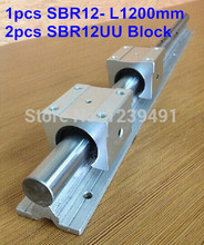 1pc SBR12 L1200mm linear guide + 2pcs SBR12UU linear bearing block cnc router 16mm linear block shafts sc16uu scs16uu cnc router diy cnc parts metal linear ball bearing pellow block linear unit shafts
