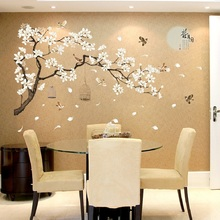China Style Moon Plants Wall Sticker For Bedroom Window Door Room Decoration Plant Plane Mural Pastrol Removable Diy Wallposter
