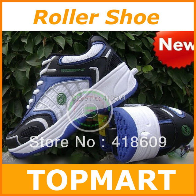 WHEELYS Roller Skate Shoes Style Retractable Push Button Blue/Black/Pink free shipping whoesale