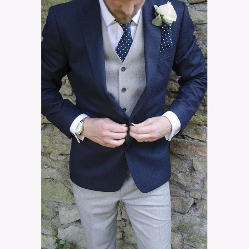 Темно-синие Для мужчин S Костюмы заказ Мода 2017 Новый TERNO Slim Fit Жених свадьба Для мужчин костюм Блейзер Ropa Hombres (куртка + брюки + серый жилет)