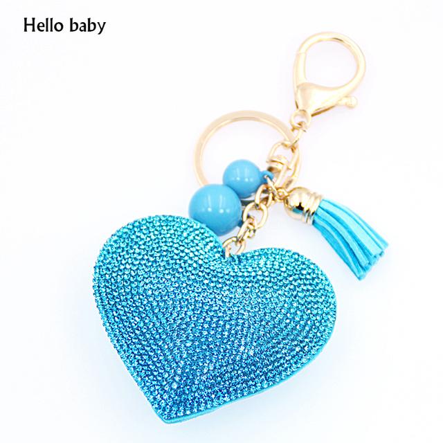 Rhinestone Inlaid Heart Fashion Key Ring or Hand Bag Charm