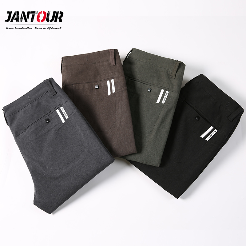 Males Garments 2019 new Autumn New Males's Stretch Informal grey Pants Enterprise Trend Strong Colour Cotton Trousers Male Model Clothes Informal Pants, Low cost Informal Pants, Males Garments 2019...