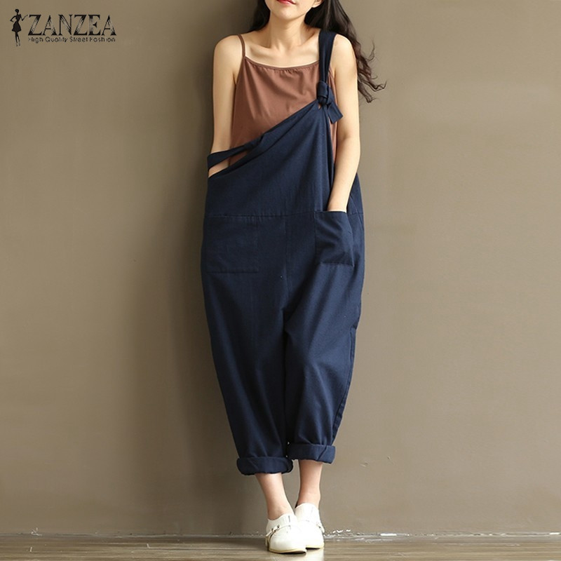 8667cd7d0564 ZANZEA Rompers Womens Jumpsuits 2018 Casual Vintage Sleeveless Backless  Casual Loose Solid Overalls Strapless Plus Size