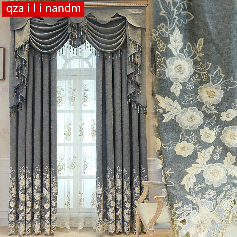 Kitchen Window Luxury Curtains For Living Room European Gray Chenille Embroidery Velvet Curtains Tulle Bedroom Decorate Panel